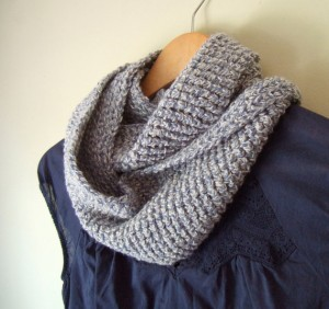 Multicolor Infinity Scarf - Blue, Off White, Upcycled Fashion